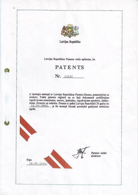 Patent 13135 Stropuva