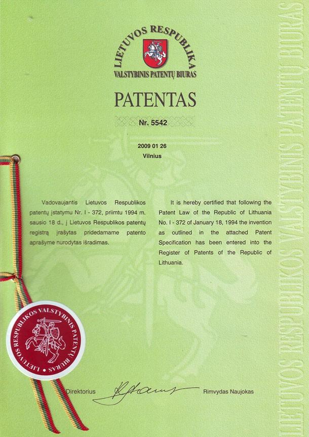 Patent 5542 Stropuva