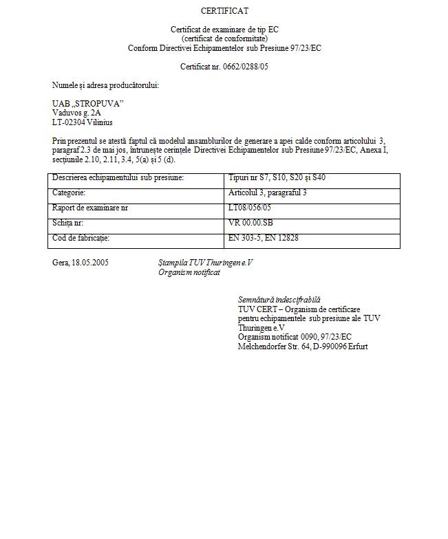certificat examinare EC conform CE centrala termica stropuva