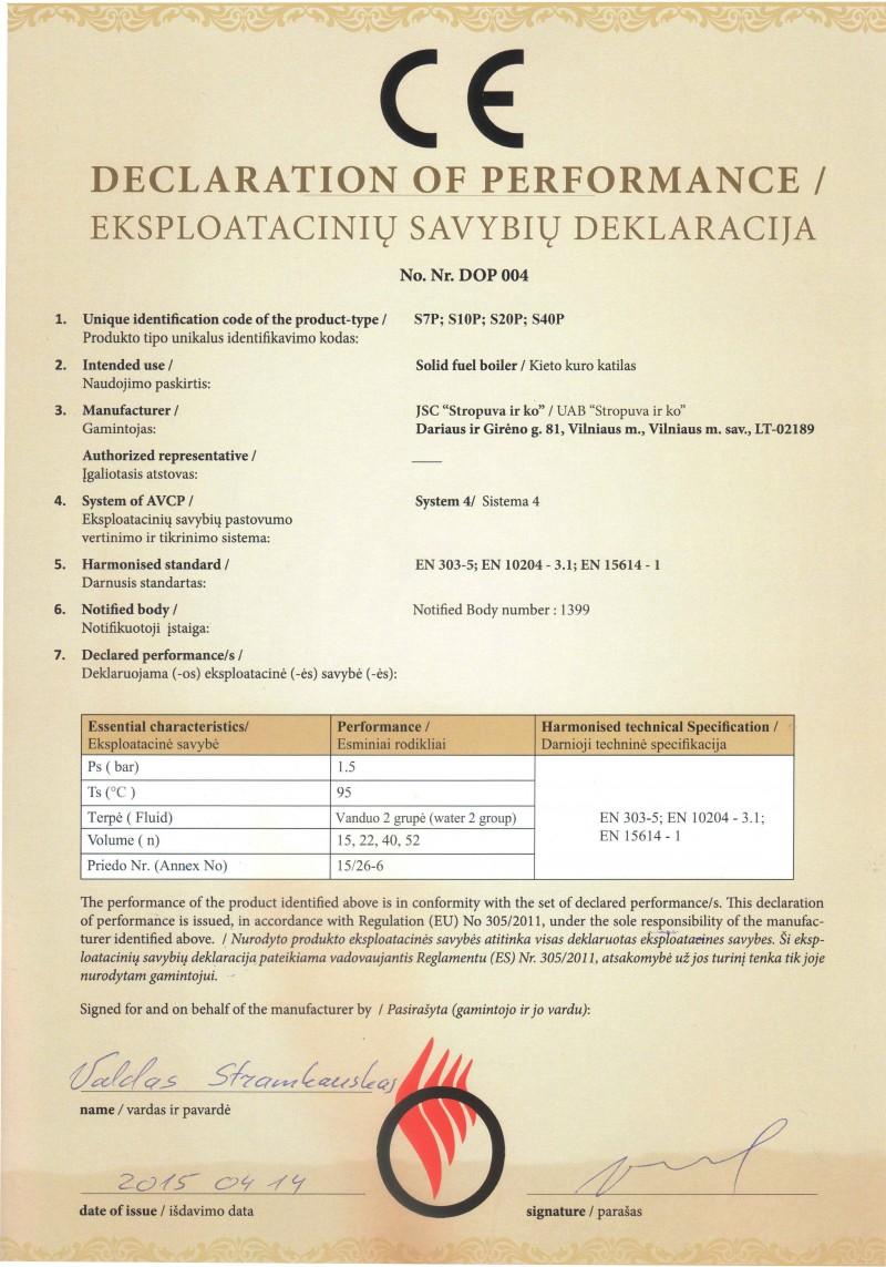 declaratia de performanta a centralei Stropuva 2015-2