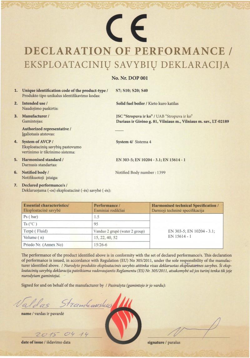 declaratia de performanta a centralei Stropuva 2015