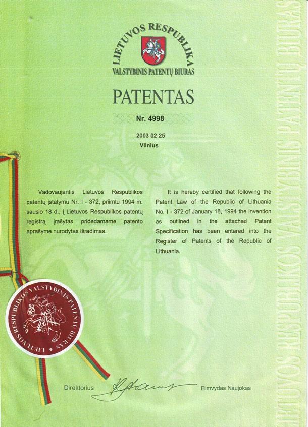 patent 4998 Stropuva